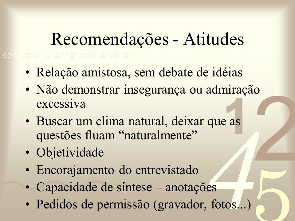 Recomendações - Atitudes