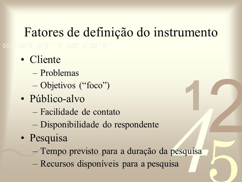 Fatores de definição do instrumento
