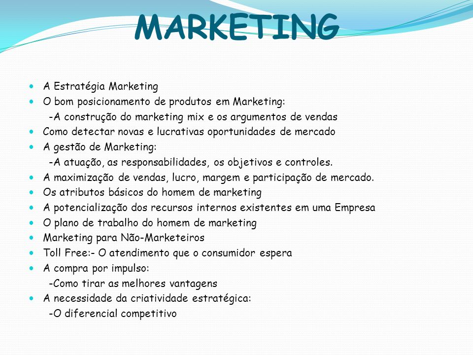 MARKETING A Estratégia Marketing