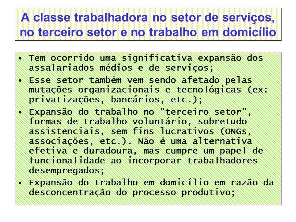 A classe trabalhadora no setor de serviços, no terceiro setor e no trabalho em domicílio