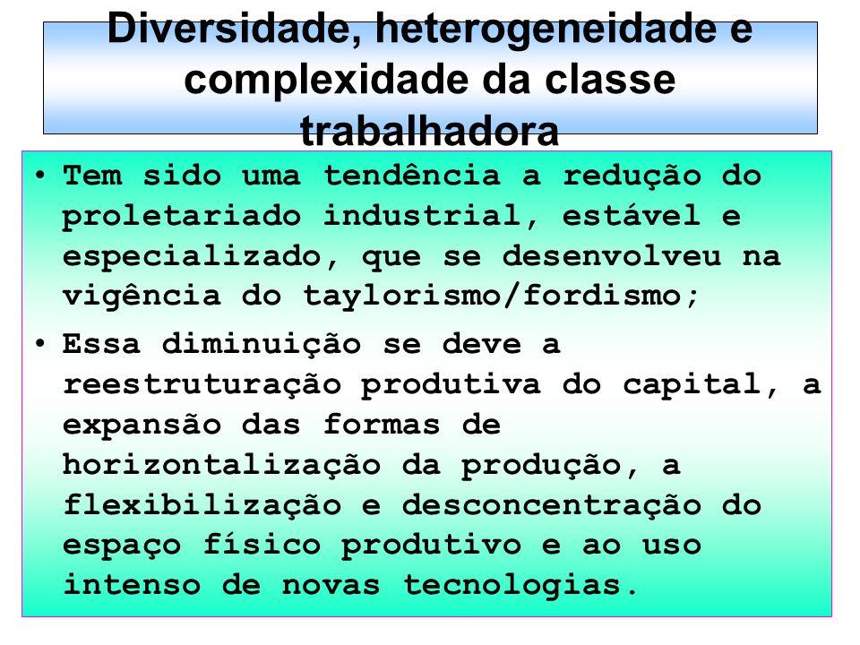 Diversidade, heterogeneidade e complexidade da classe trabalhadora