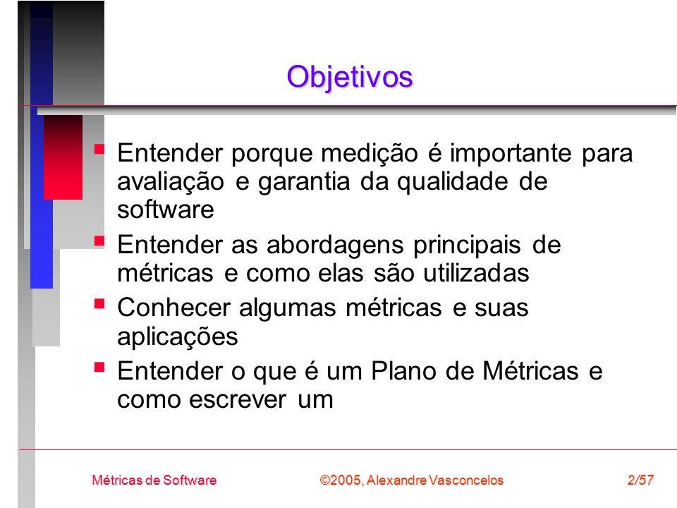 Objetivos Entender porque medição é importante para avaliação e garantia da qualidade de software.