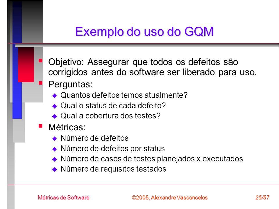 Exemplo do uso do GQM Objetivo: Assegurar que todos os defeitos são corrigidos antes do software ser liberado para uso.