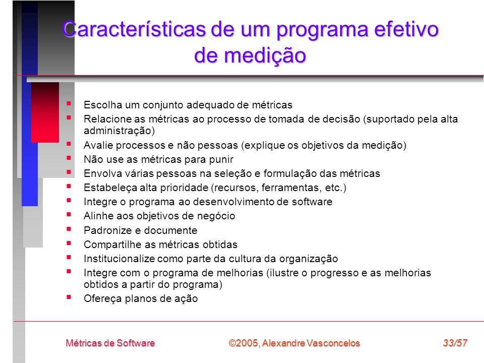 Características de um programa efetivo de medição