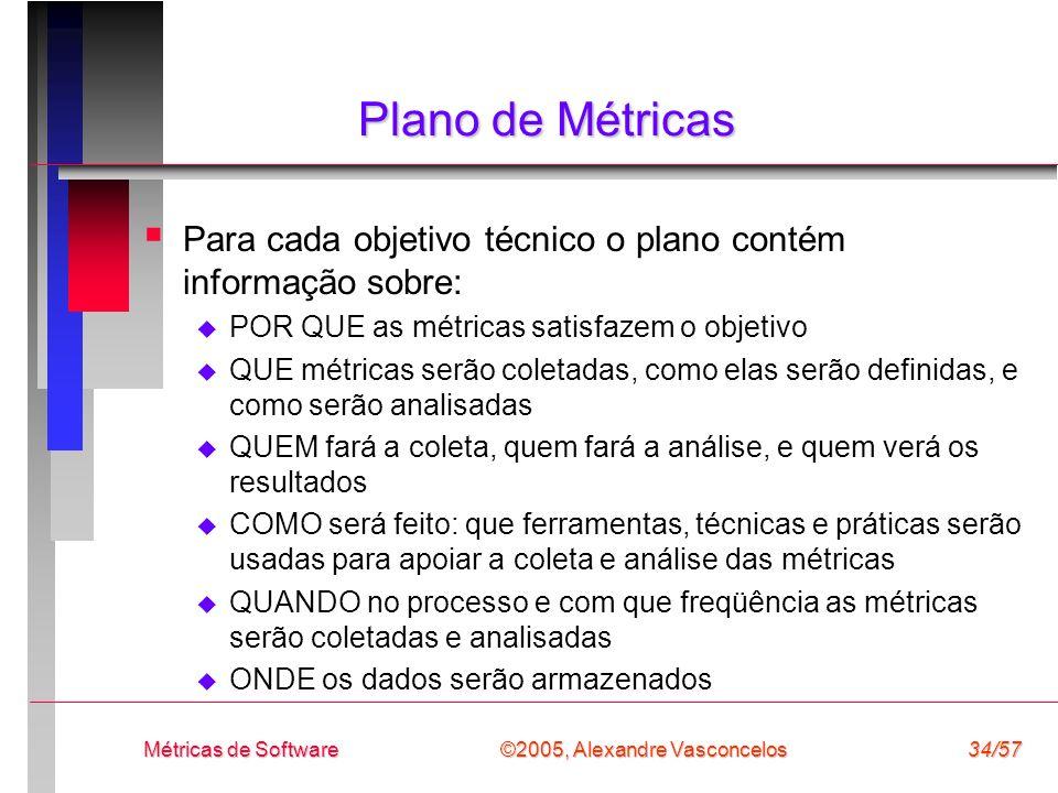 Plano de Métricas Para cada objetivo técnico o plano contém informação sobre: POR QUE as métricas satisfazem o objetivo.