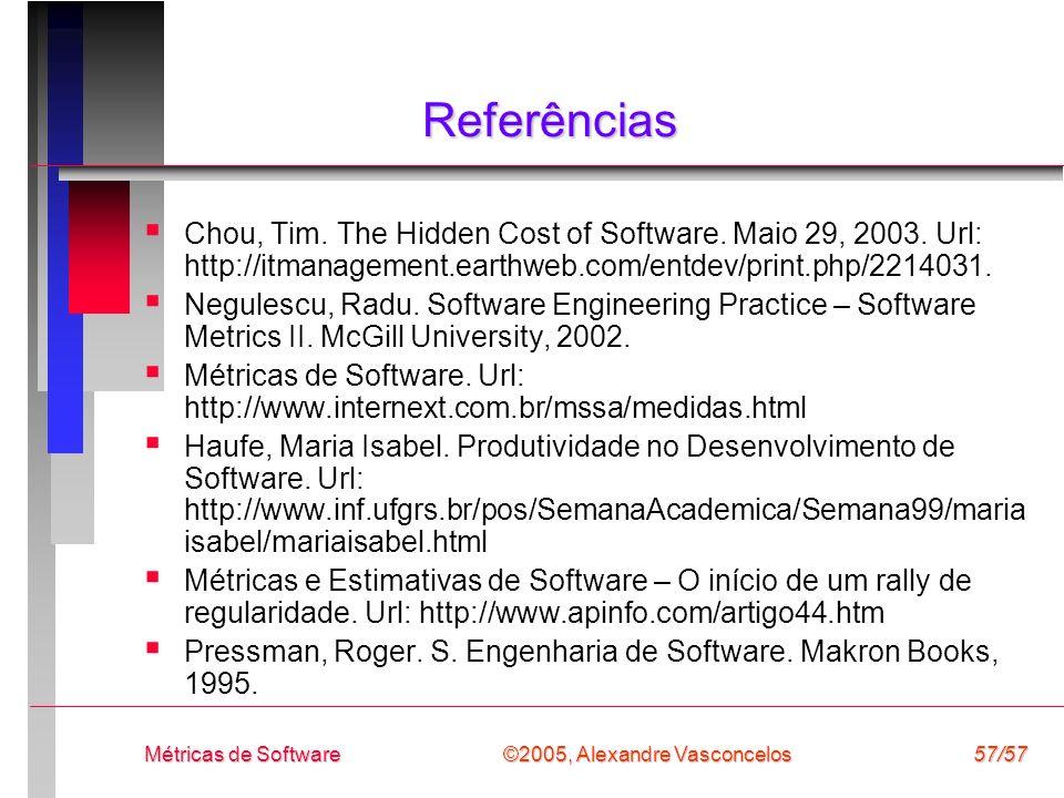 Referências Chou, Tim. The Hidden Cost of Software. Maio 29, 2003. Url: http://itmanagement.earthweb.com/entdev/print.php/2214031.
