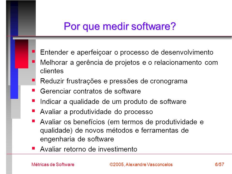 Por que medir software Entender e aperfeiçoar o processo de desenvolvimento. Melhorar a gerência de projetos e o relacionamento com clientes.