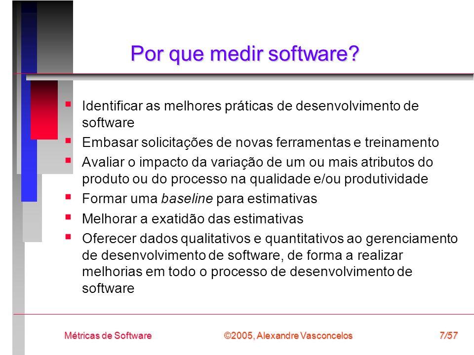 Por que medir software Identificar as melhores práticas de desenvolvimento de software. Embasar solicitações de novas ferramentas e treinamento.