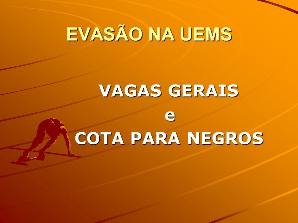 EVASÃO NA UEMS VAGAS GERAIS e COTA PARA NEGROS