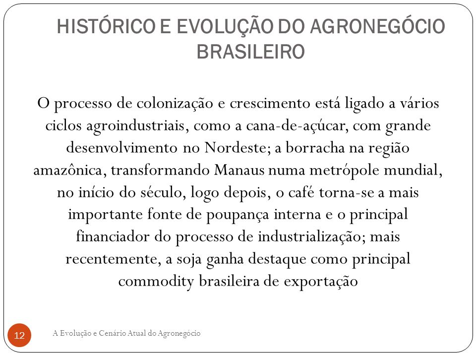 HISTÓRICO E EVOLUÇÃO DO AGRONEGÓCIO BRASILEIRO