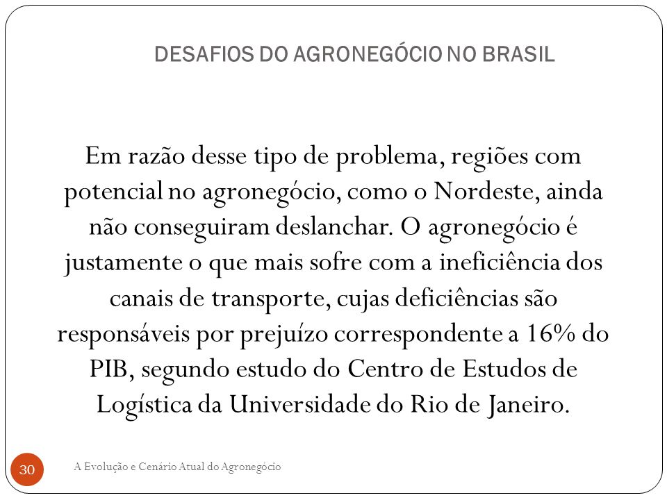DESAFIOS DO AGRONEGÓCIO NO BRASIL