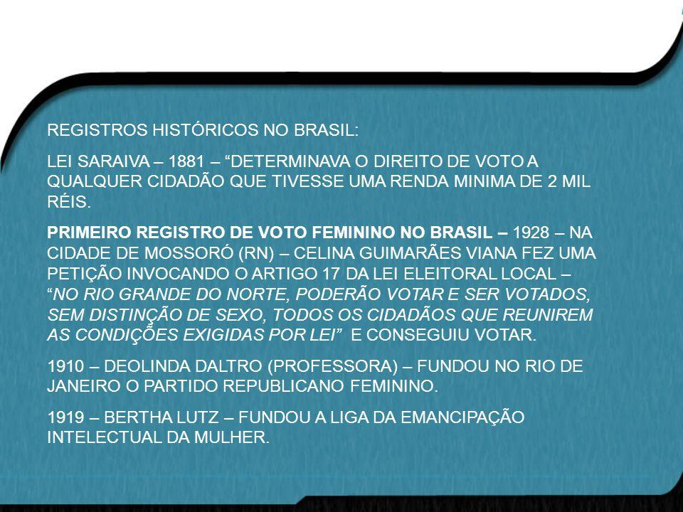 REGISTROS HISTÓRICOS NO BRASIL:
