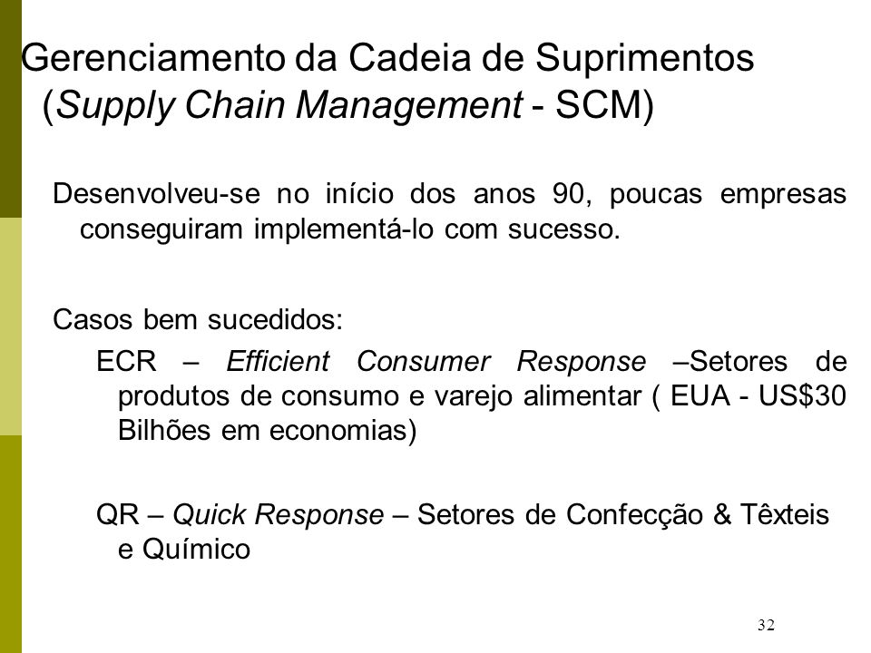Gerenciamento da Cadeia de Suprimentos (Supply Chain Management - SCM)