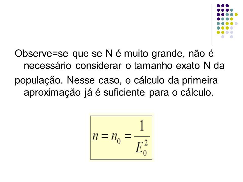 Observe=se que se N é muito grande, não é necessário considerar o tamanho exato N da