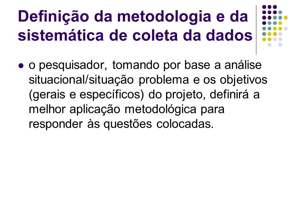 Definição da metodologia e da sistemática de coleta da dados