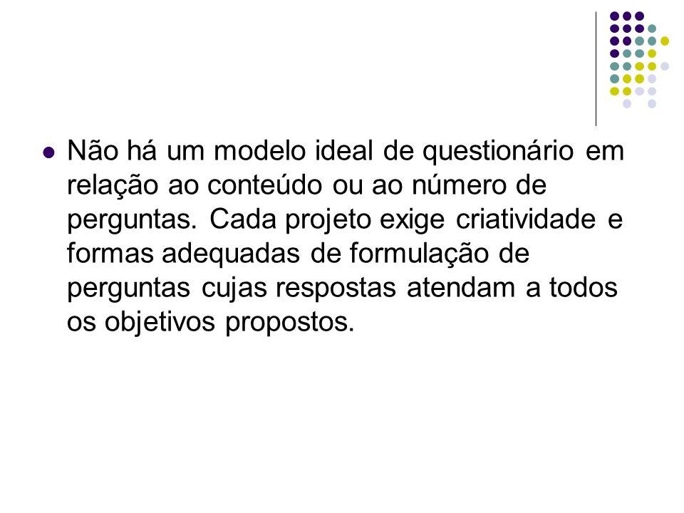 Não há um modelo ideal de questionário em relação ao conteúdo ou ao número de perguntas.