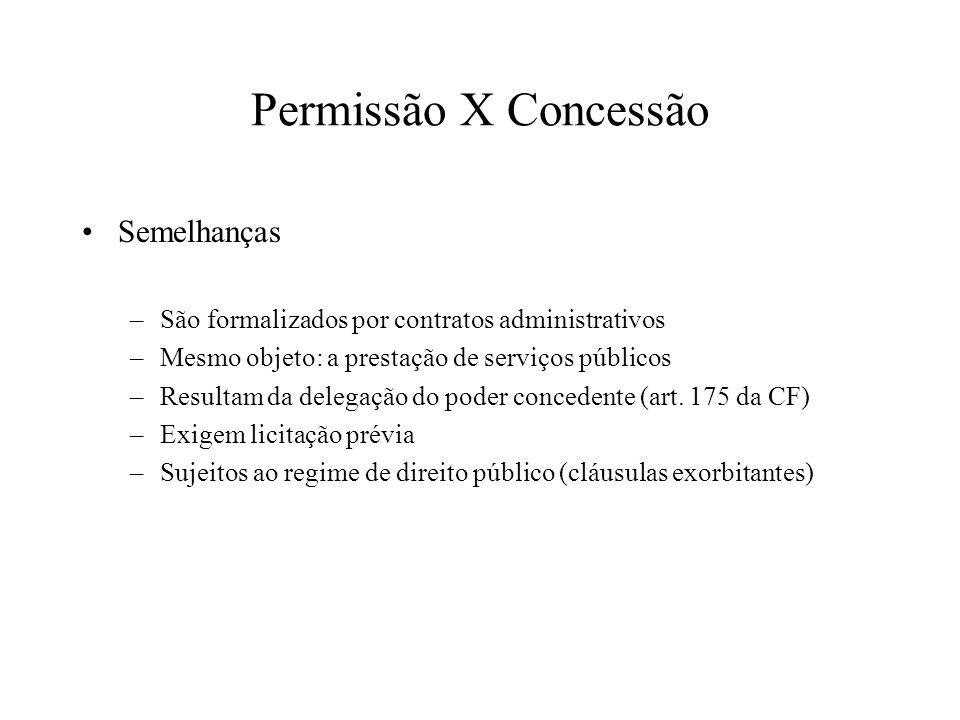 Permissão X Concessão Semelhanças