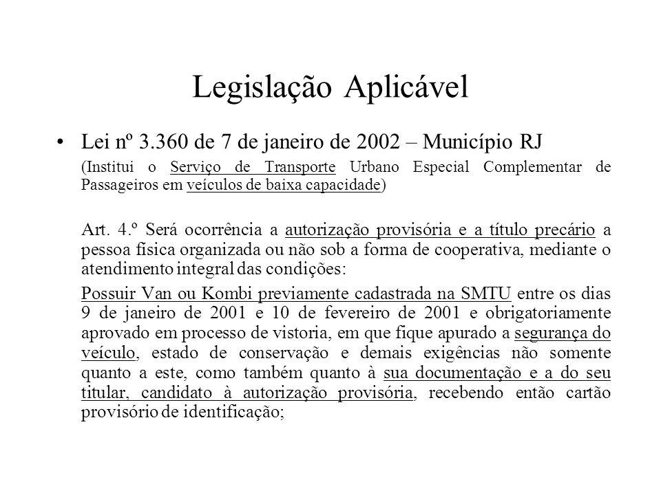 Legislação Aplicável Lei nº 3.360 de 7 de janeiro de 2002 – Município RJ.