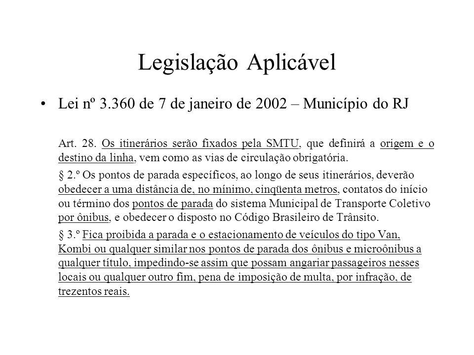 Legislação Aplicável Lei nº 3.360 de 7 de janeiro de 2002 – Município do RJ.
