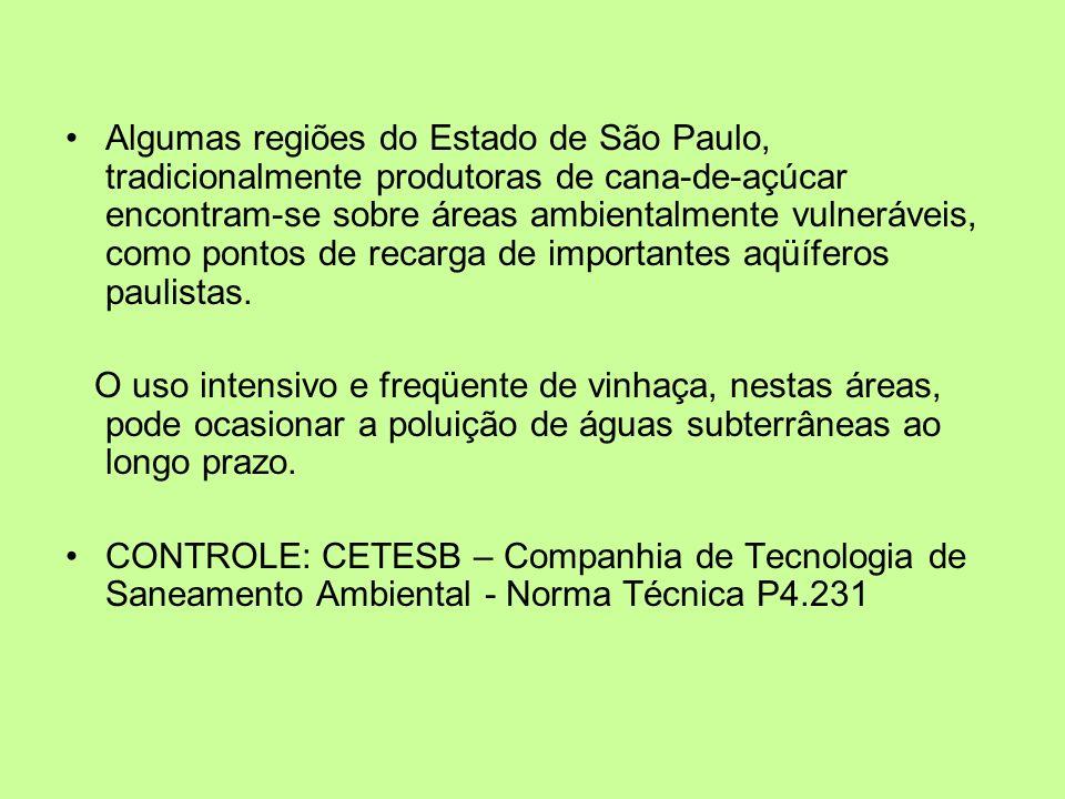 Algumas regiões do Estado de São Paulo, tradicionalmente produtoras de cana-de-açúcar encontram-se sobre áreas ambientalmente vulneráveis, como pontos de recarga de importantes aqüíferos paulistas.