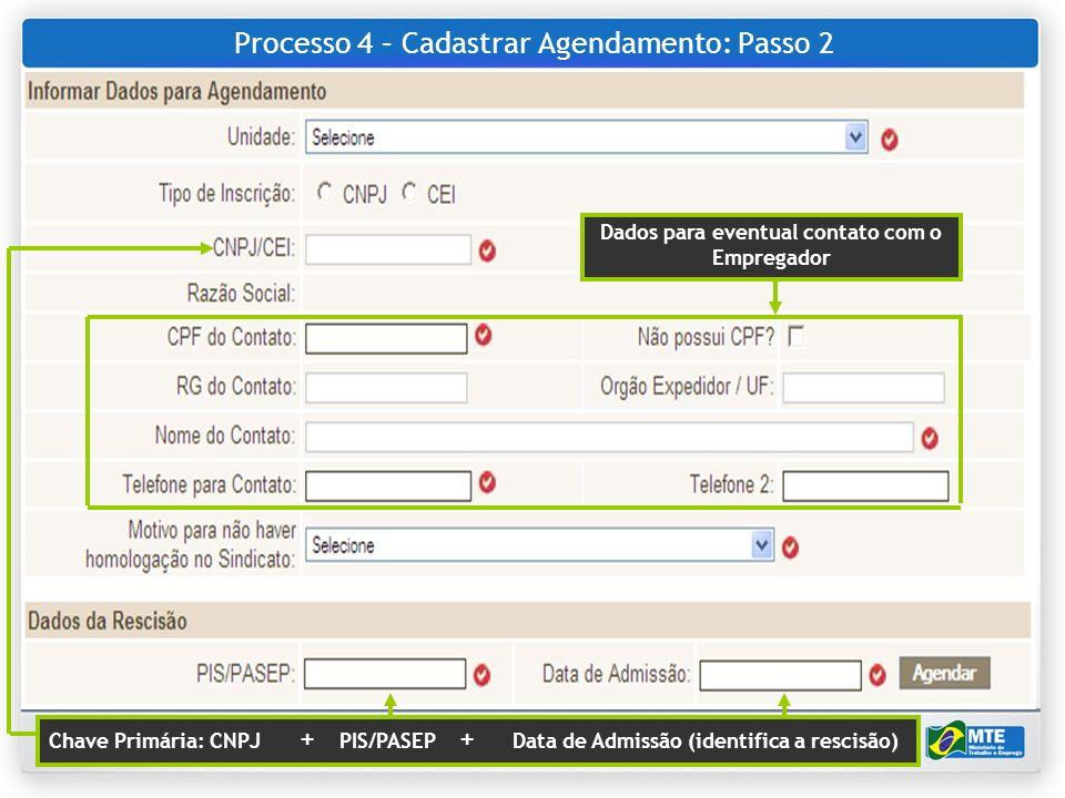 Processo 4 – Cadastrar Agendamento: Passo 2
