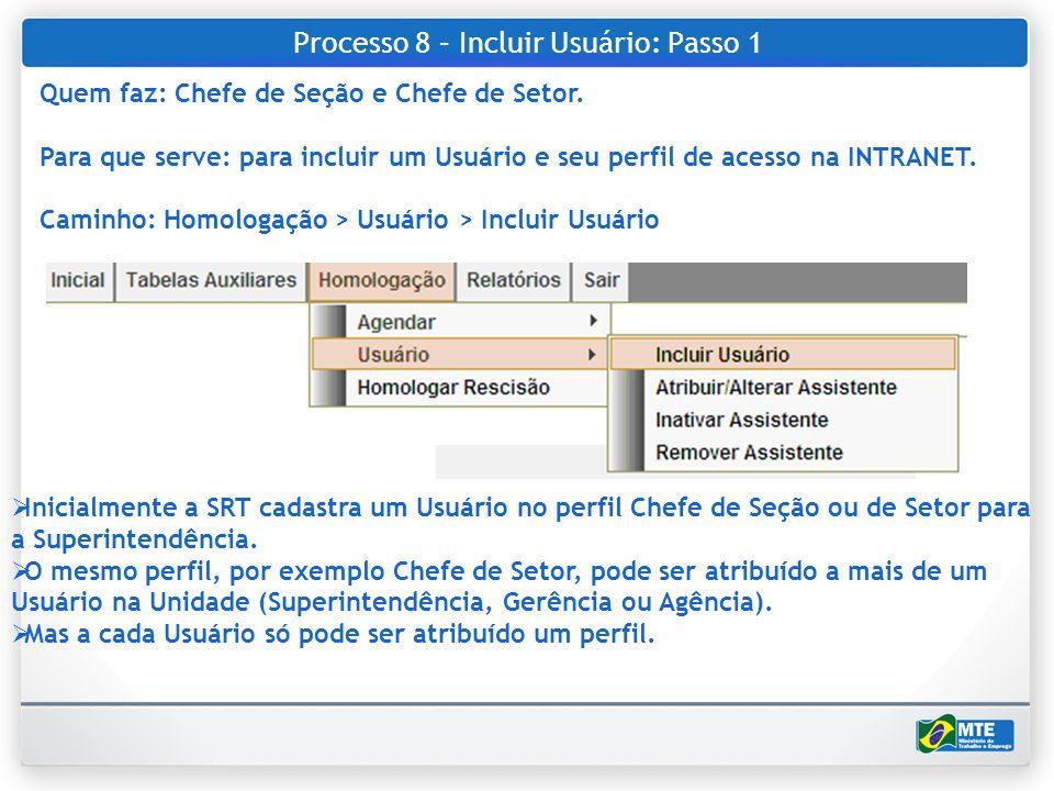 Processo 8 – Incluir Usuário: Passo 1