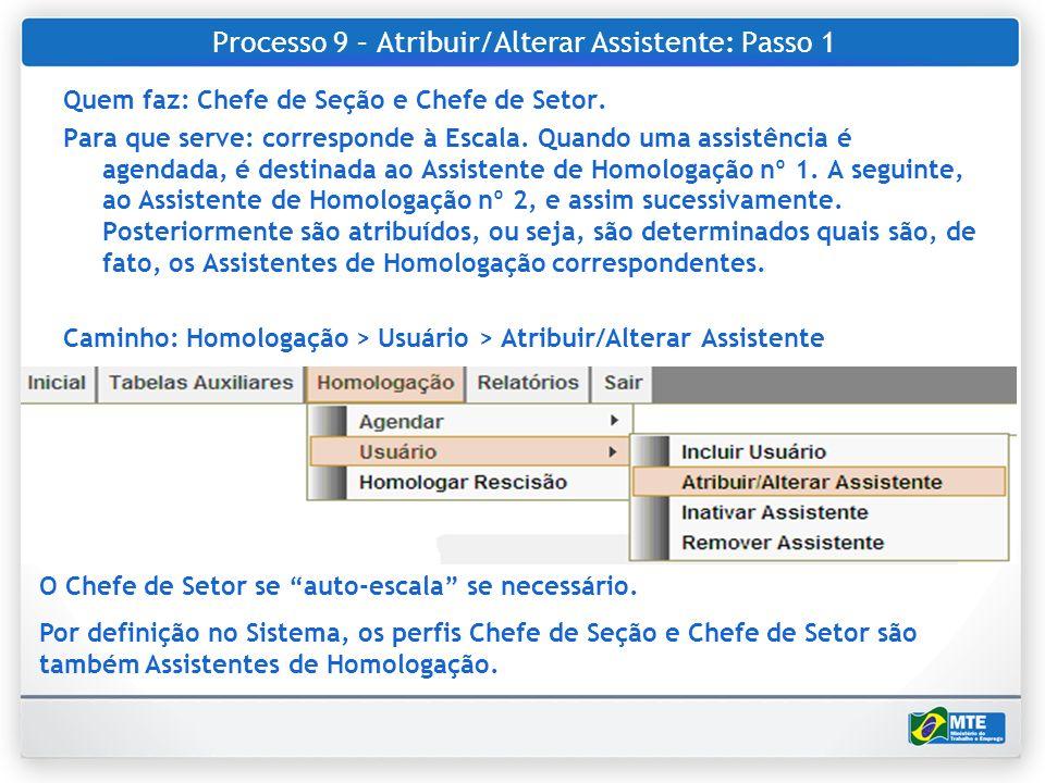 Processo 9 – Atribuir/Alterar Assistente: Passo 1