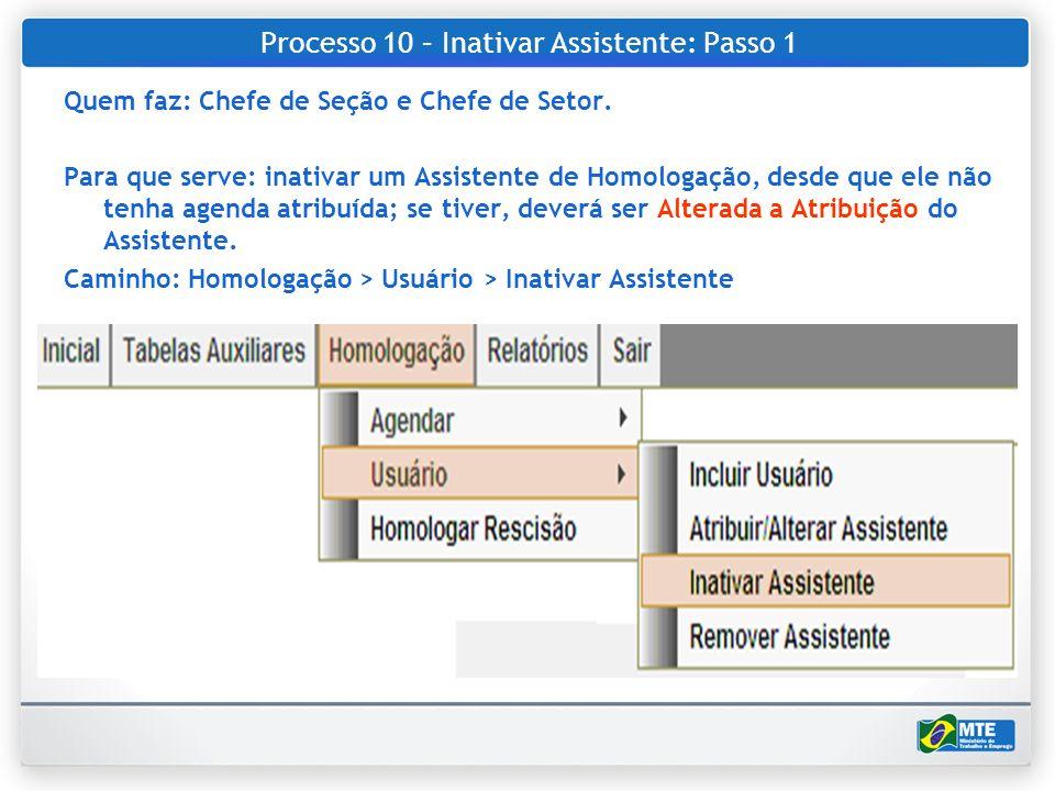 Processo 10 – Inativar Assistente: Passo 1