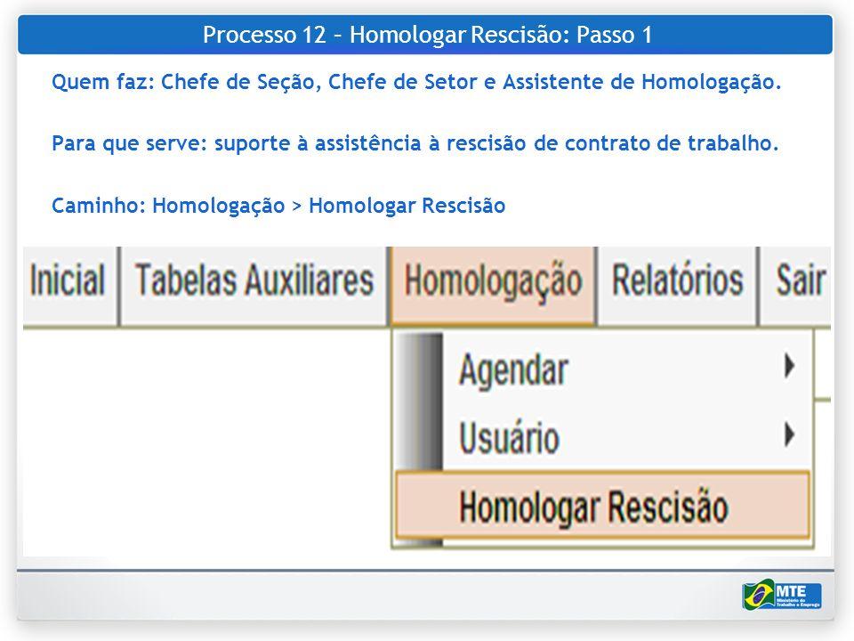 Processo 12 – Homologar Rescisão: Passo 1