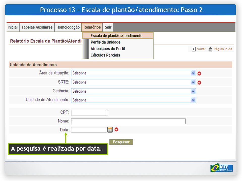Processo 13 – Escala de plantão/atendimento: Passo 2