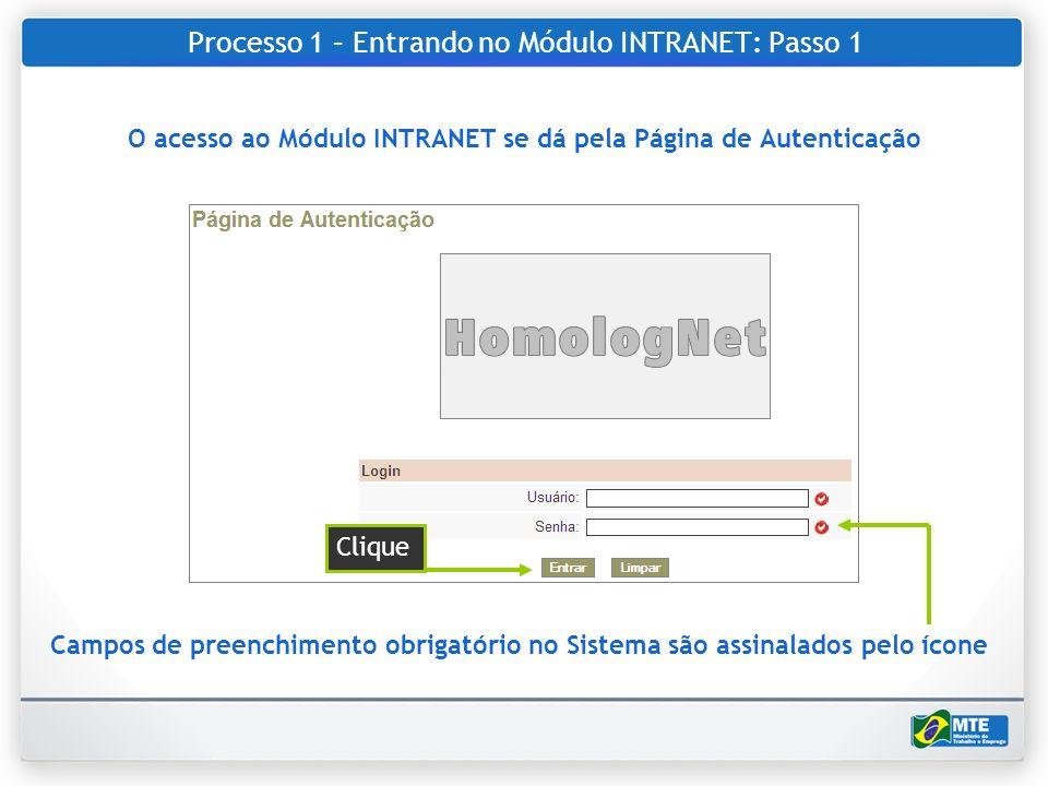 Processo 1 – Entrando no Módulo INTRANET: Passo 1