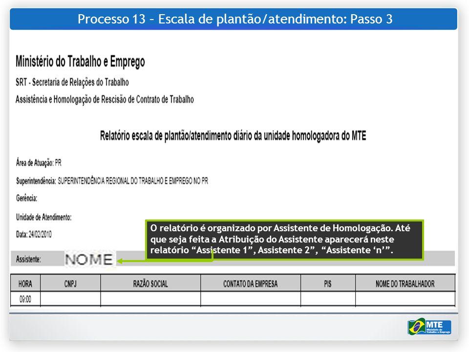 Processo 13 – Escala de plantão/atendimento: Passo 3