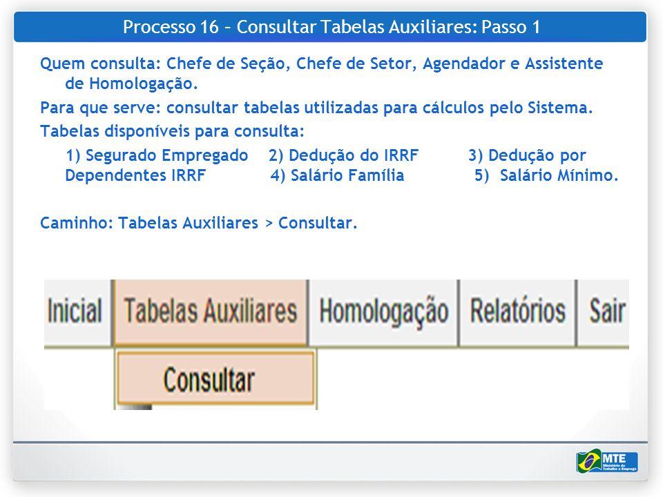 Processo 16 – Consultar Tabelas Auxiliares: Passo 1