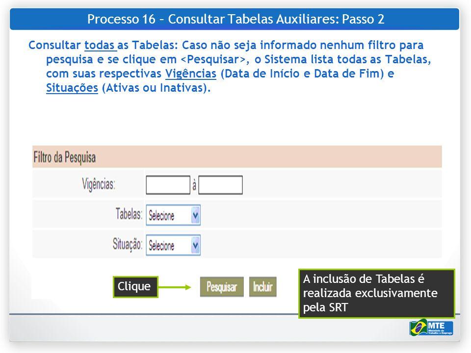 Processo 16 – Consultar Tabelas Auxiliares: Passo 2