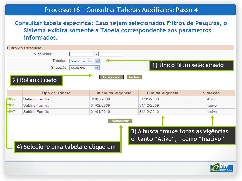 Processo 16 – Consultar Tabelas Auxiliares: Passo 4