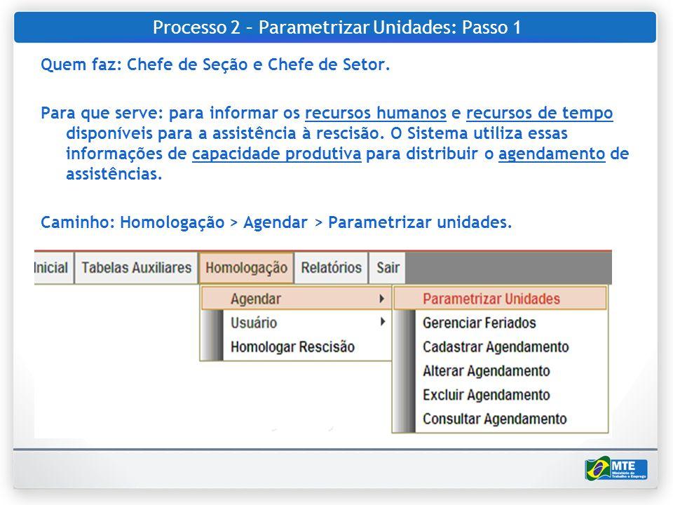 Processo 2 – Parametrizar Unidades: Passo 1