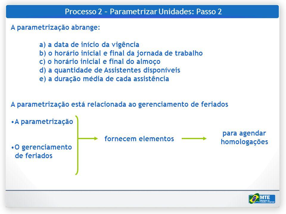 Processo 2 – Parametrizar Unidades: Passo 2