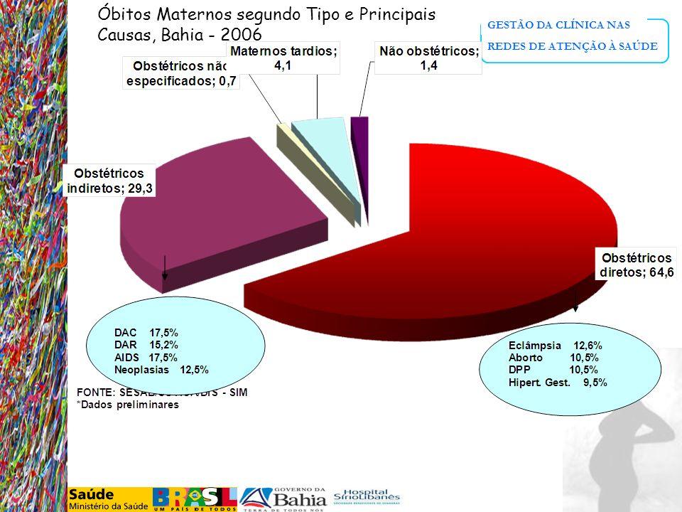 Óbitos Maternos segundo Tipo e Principais Causas, Bahia - 2006