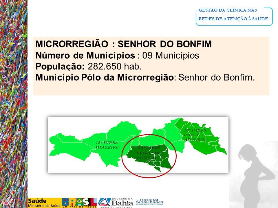 MICRORREGIÃO : SENHOR DO BONFIM Número de Municípios : 09 Municípios