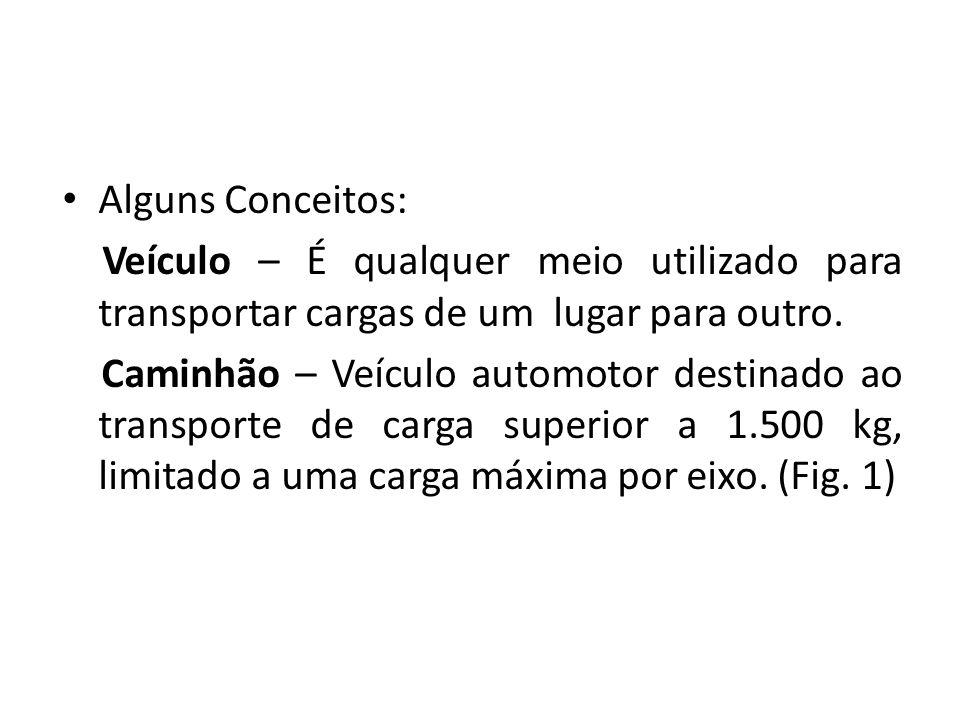 Alguns Conceitos: Veículo – É qualquer meio utilizado para transportar cargas de um lugar para outro.