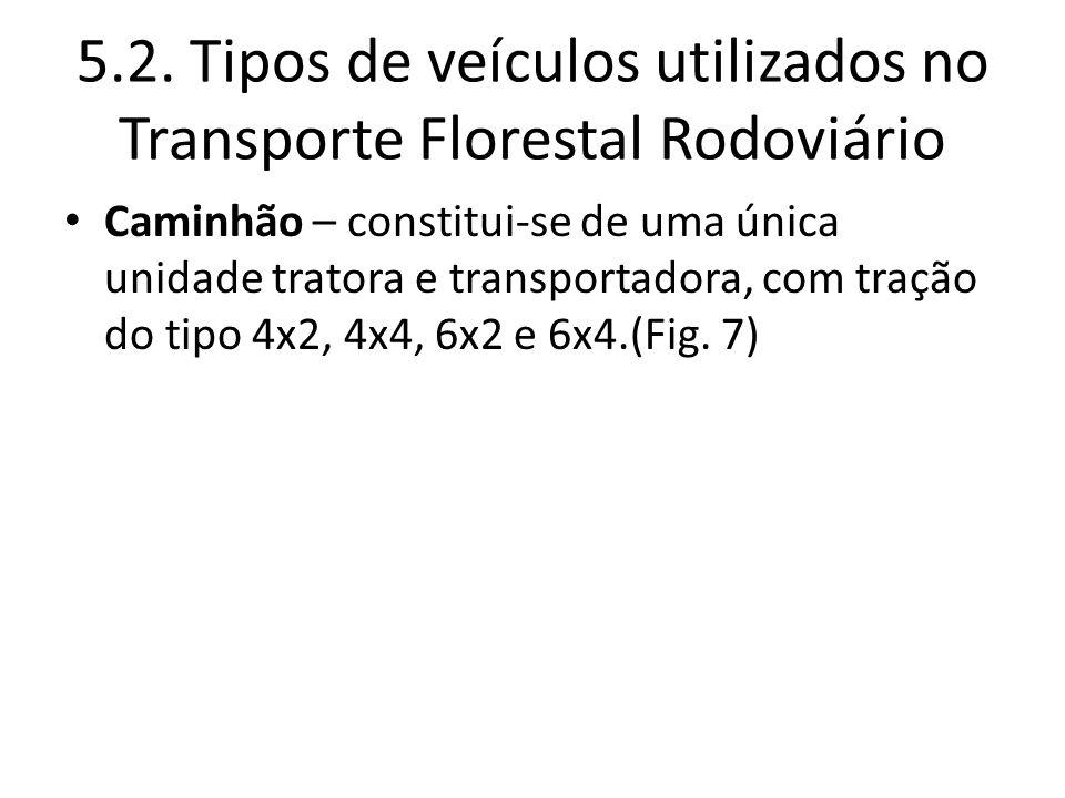 5.2. Tipos de veículos utilizados no Transporte Florestal Rodoviário