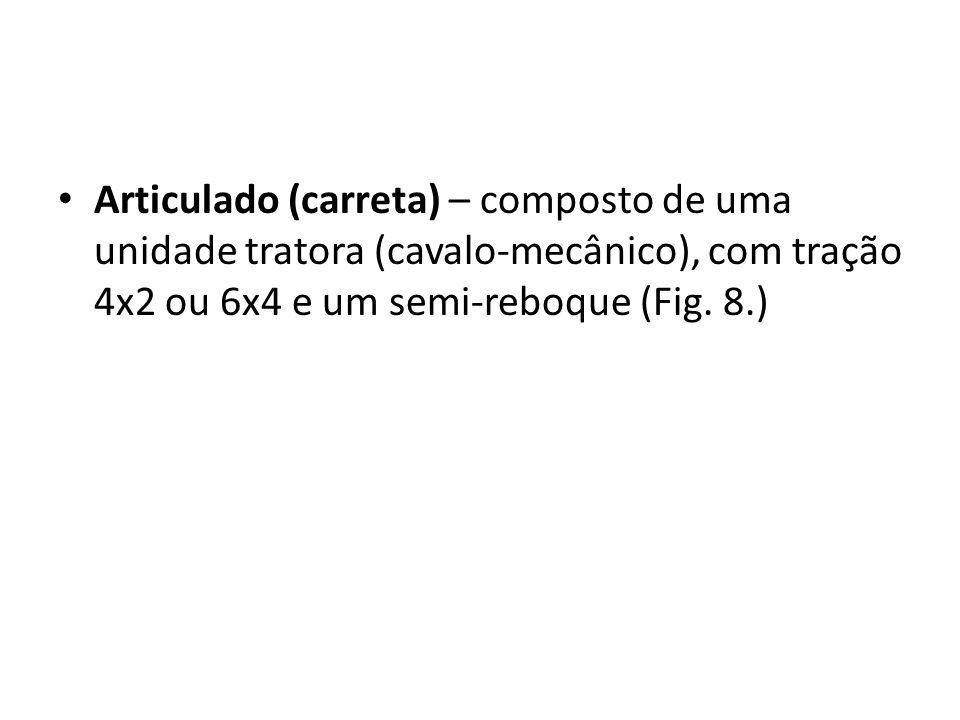 Articulado (carreta) – composto de uma unidade tratora (cavalo-mecânico), com tração 4x2 ou 6x4 e um semi-reboque (Fig.
