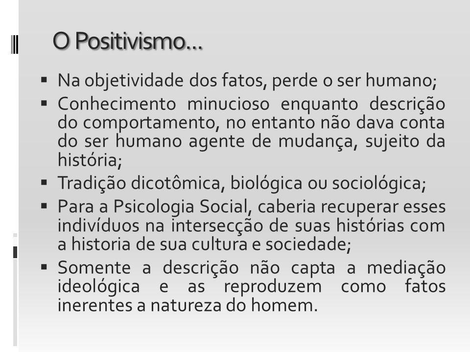 O Positivismo... Na objetividade dos fatos, perde o ser humano;