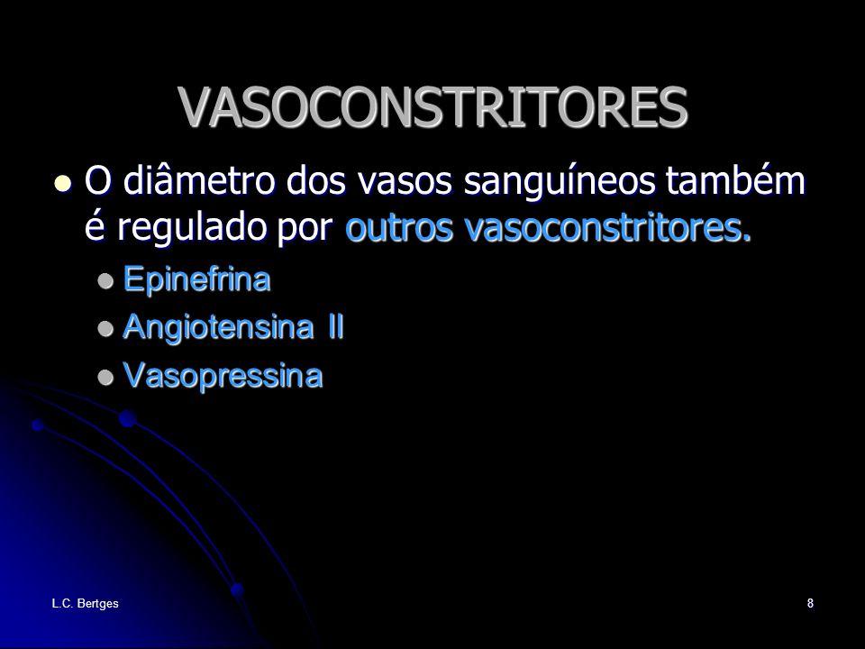 VASOCONSTRITORES O diâmetro dos vasos sanguíneos também é regulado por outros vasoconstritores. Epinefrina.