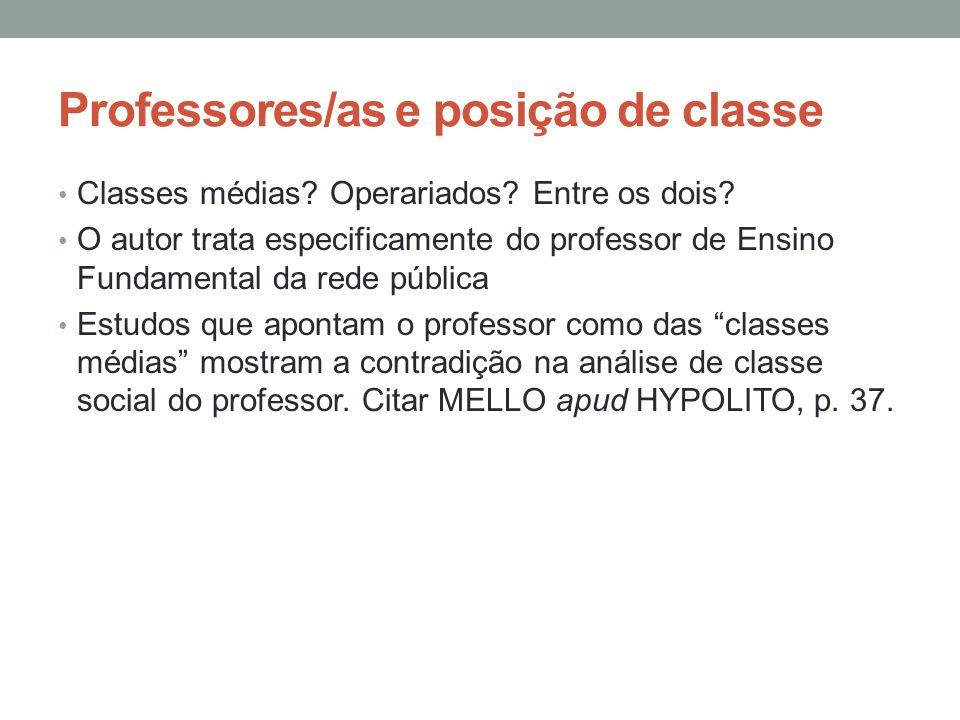 Professores/as e posição de classe