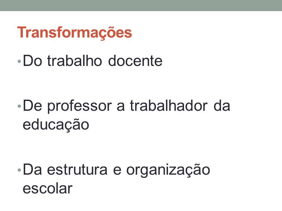 Transformações Do trabalho docente. De professor a trabalhador da educação.