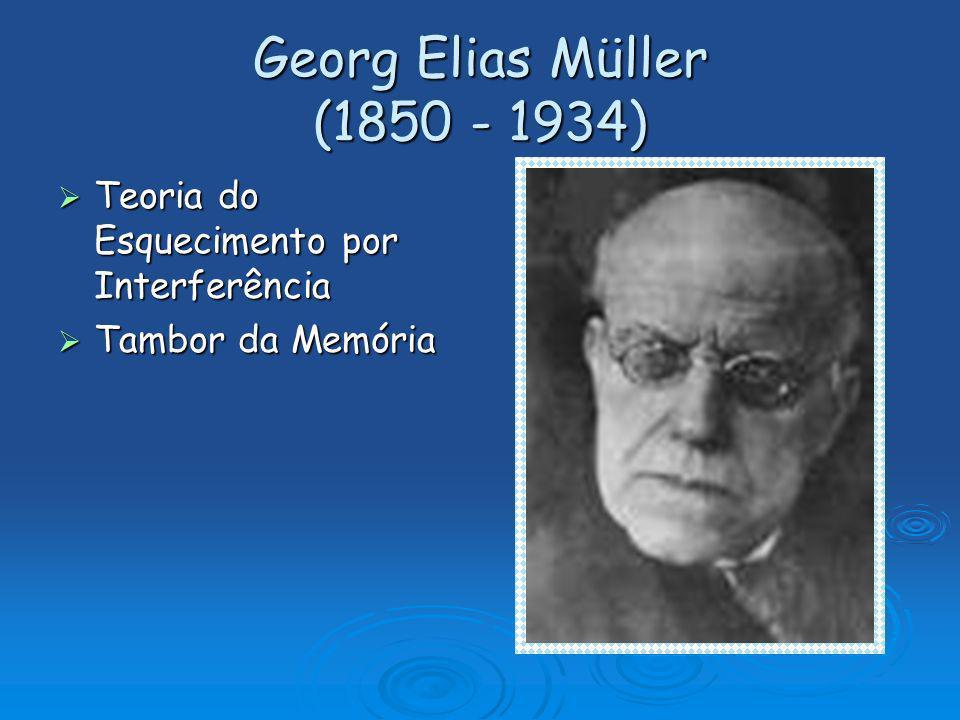 Georg Elias Müller (1850 - 1934) Teoria do Esquecimento por Interferência Tambor da Memória