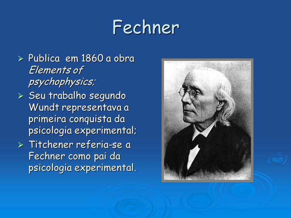 Fechner Publica em 1860 a obra Elements of psychophysics;