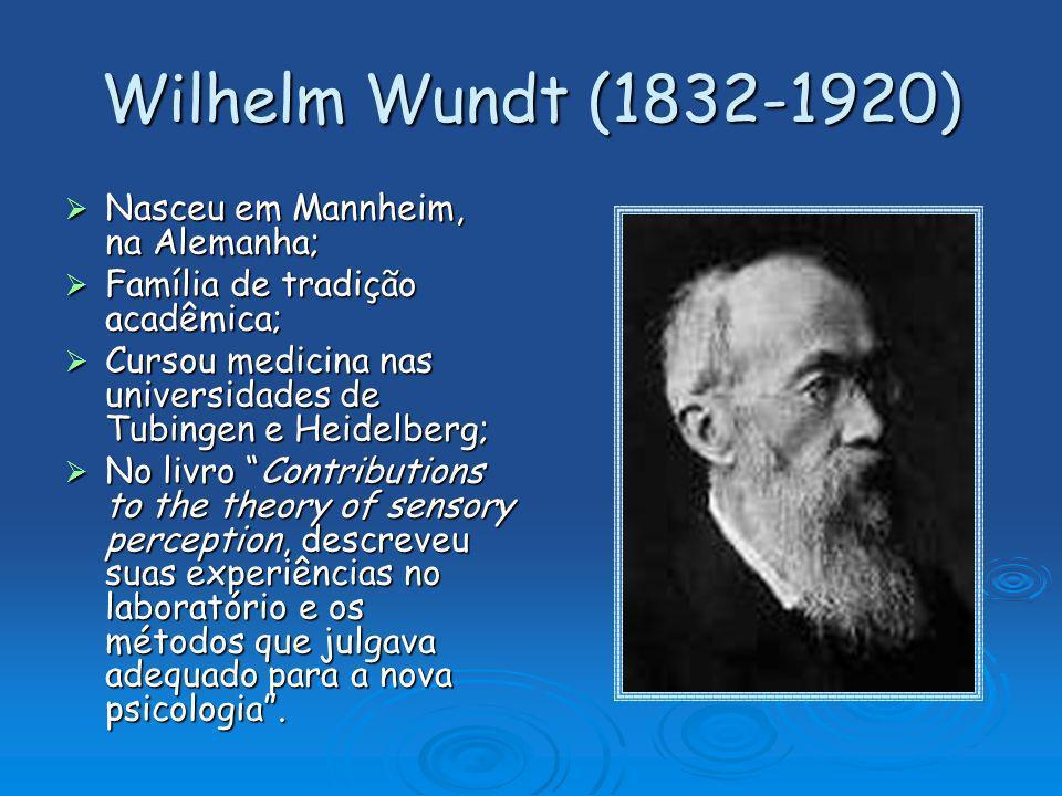 Wilhelm Wundt (1832-1920) Nasceu em Mannheim, na Alemanha;