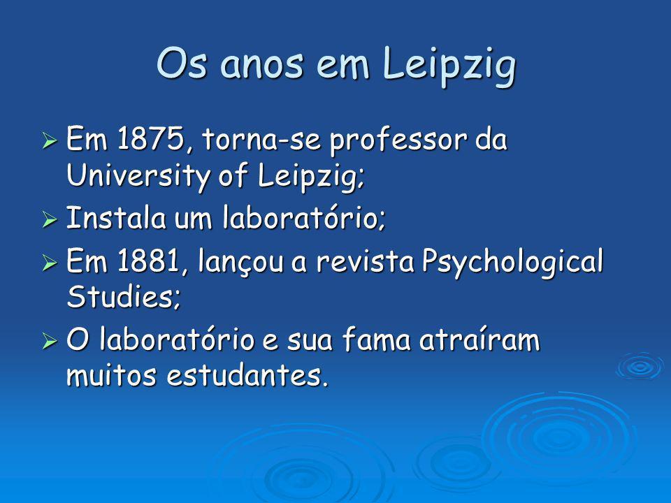 Os anos em Leipzig Em 1875, torna-se professor da University of Leipzig; Instala um laboratório; Em 1881, lançou a revista Psychological Studies;